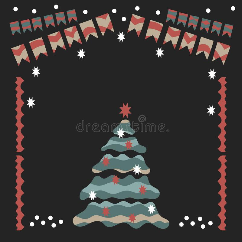 Festão do Natal, árvore de Natal, neve, bolas do Natal, peúgas e outros artigos ilustração do vetor