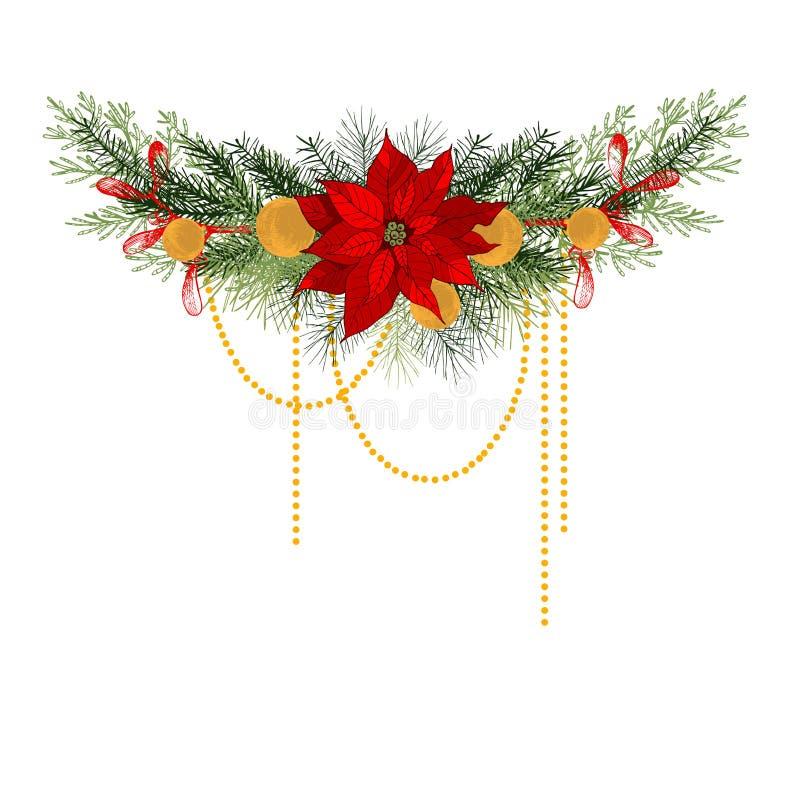 Festão do Natal com com as poinsétias ilustração royalty free