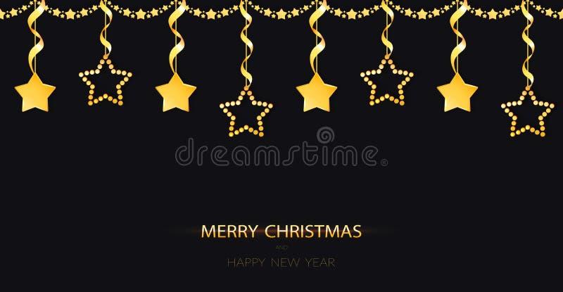 Festão do Natal com as quinquilharias do ouro amarelo da efervescência no fundo preto Decoração dourada com as estrelas de suspen ilustração stock