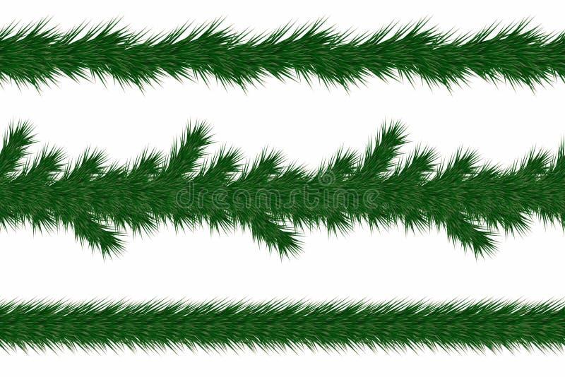 Festão do Natal com ramos do abeto Grupo de beiras verdes dos ramos de árvore do Natal isoladas no fundo branco ilustração stock