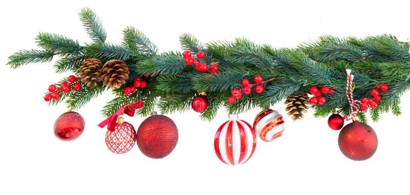 Festão do Natal no branco imagens de stock