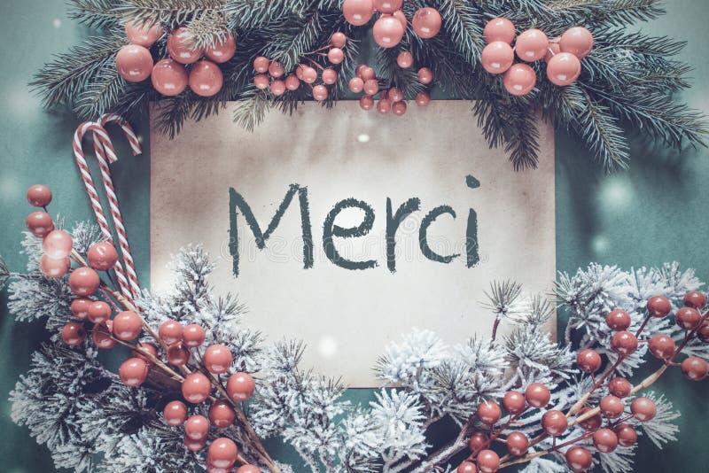 A festão do Natal, ramo de árvore do abeto, meios de Merci agradece-lhe foto de stock