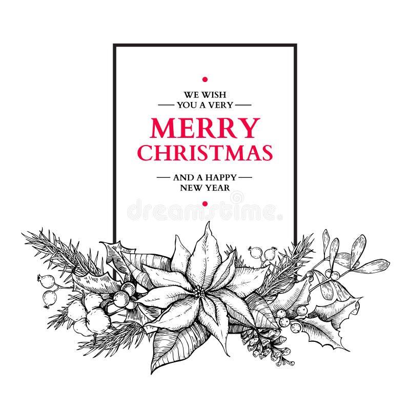 Festão do Natal Vector a ilustração tirada mão com azevinho, MI ilustração do vetor