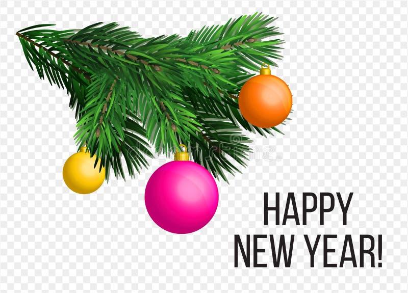 Festão e ornamento da árvore de Natal do vetor Grande para insetos, cartazes, encabeçamentos Natal realístico, feriado do ano nov ilustração stock
