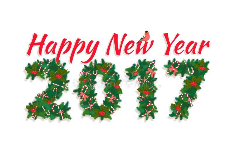 Festão festiva da grinalda do ano novo feliz de árvore de Natal com doces, ilustração do vetor