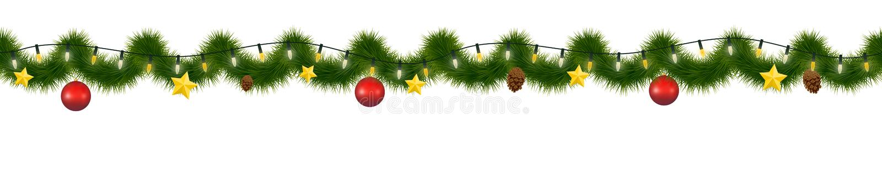 Festão festiva do Natal Torse decorativo do ano novo, horizontalmente festão sem emenda ilustração royalty free