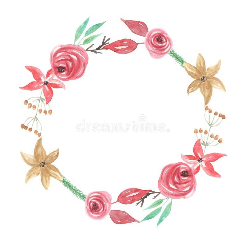 Festão floral da grinalda de Yule Christmas Berries Flowers Winter da aquarela ilustração royalty free