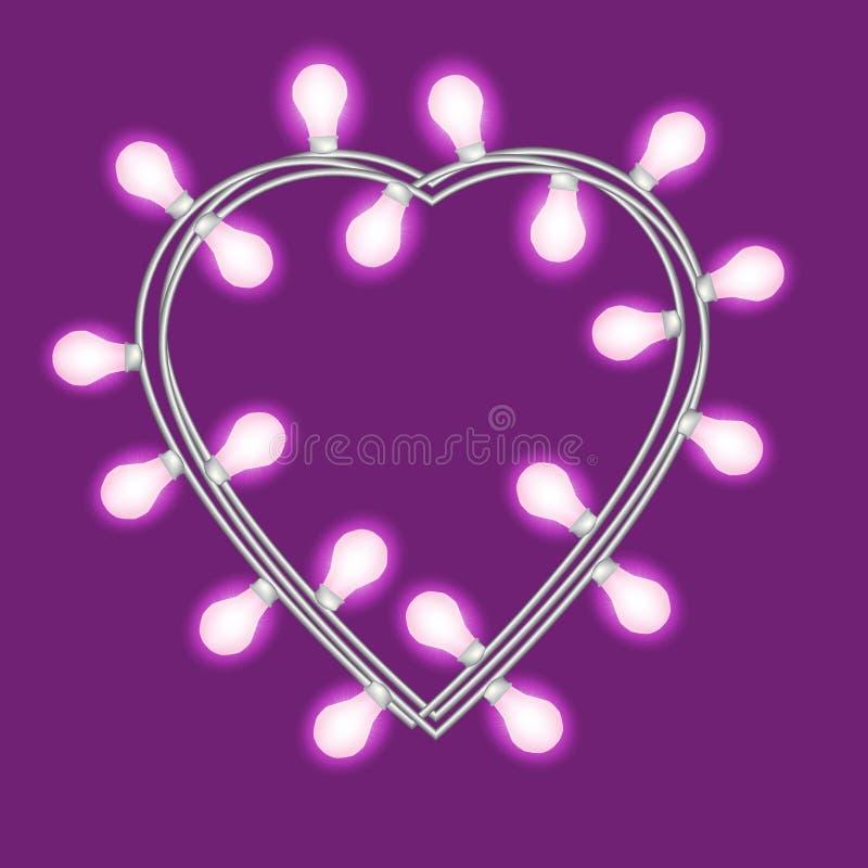 Festão no formulário do coração com as luzes de incandescência isoladas no fundo violeta Elemento do projeto do vetor para cartõe ilustração stock