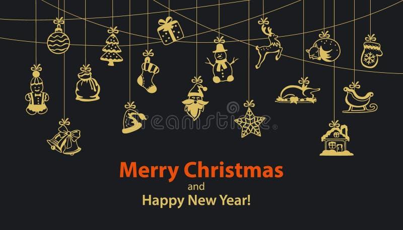 Festão sazonal da corda de suspensão do inverno do Feliz Natal e do ano novo feliz com artigos da decoração ilustração royalty free
