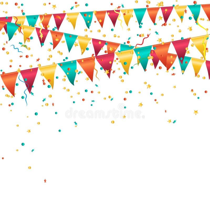 Festões brilhantes coloridos das estamenhas com os confetes isolados sobre ilustração do vetor