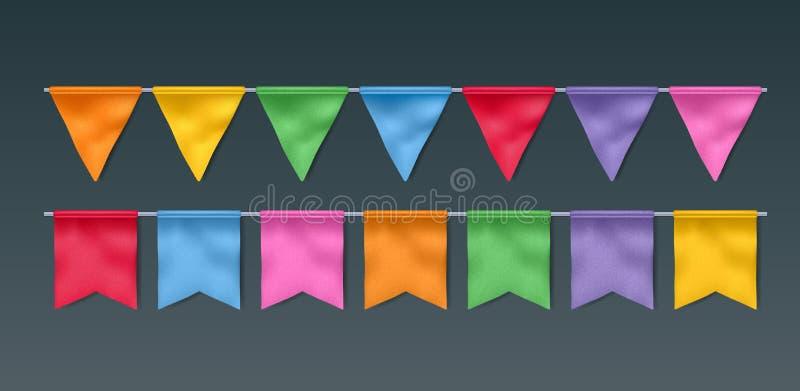 Festões coloridas das bandeiras ajustadas ilustração do vetor