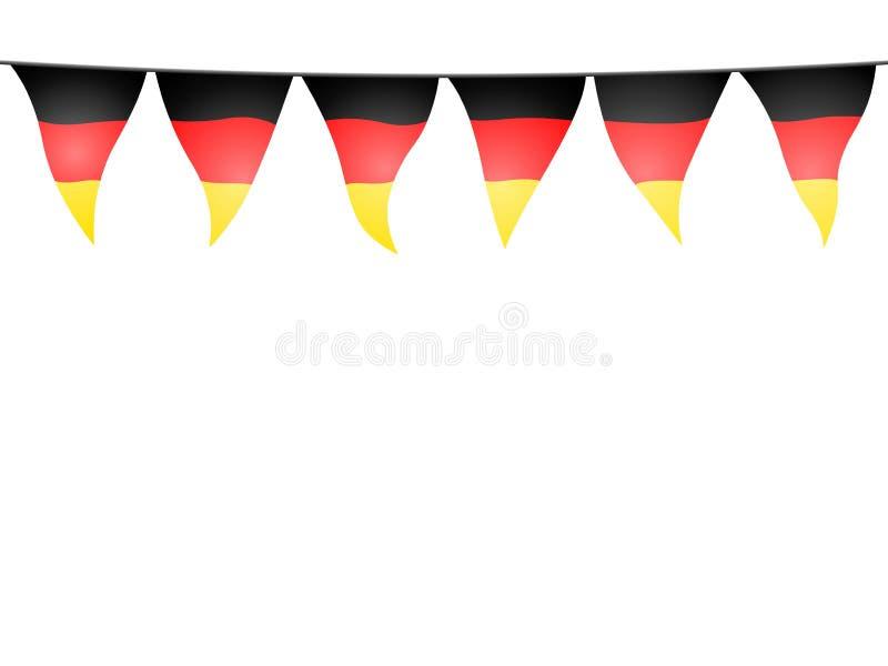 Festões com as flâmulas alemãs da cor no fundo branco ilustração royalty free