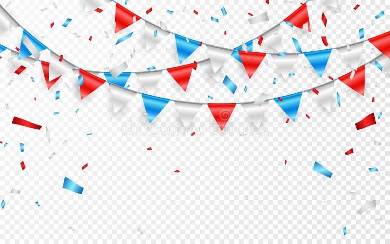 Festões de bandeiras azuis brancas vermelhas Confetes azuis, brancos e vermelhos da folha Ilustração do vetor ilustração stock