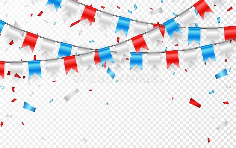 Festões de bandeiras azuis brancas vermelhas Confetes azuis, brancos e vermelhos da folha Ilustração do vetor ilustração do vetor