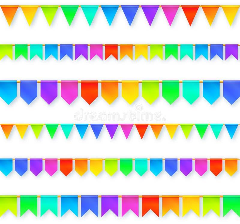 Festões vívidas das bandeiras do arco-íris das cores ajustadas isoladas ilustração royalty free