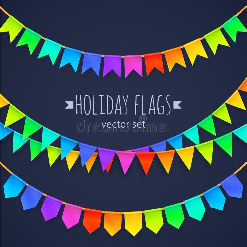Festões vívidas das bandeiras do arco-íris das cores ajustadas isoladas ilustração stock