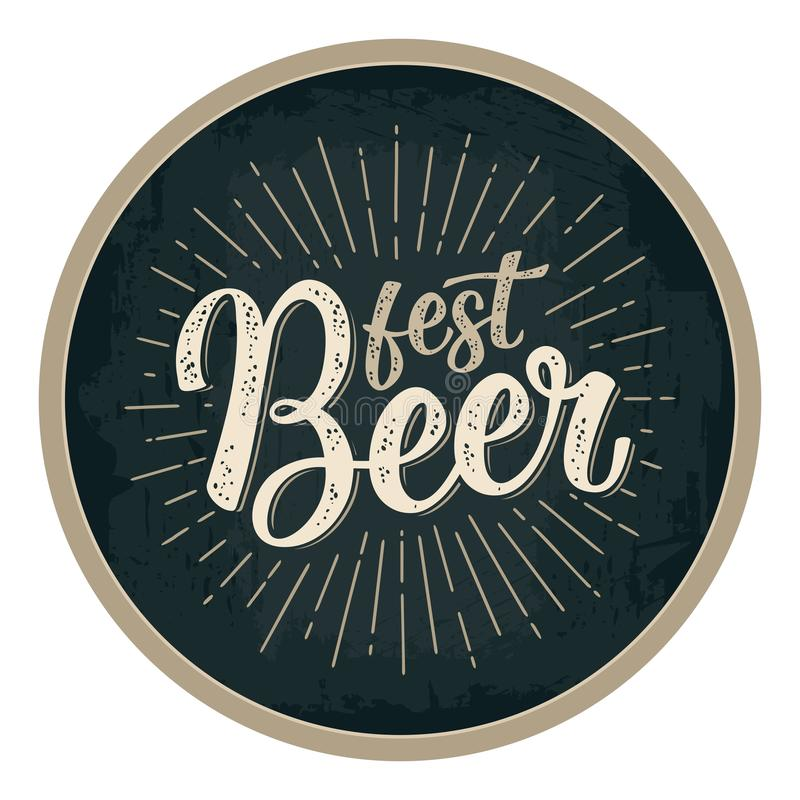 Fest Beer lettering with rays. Advertising design for coaster. royalty free illustration