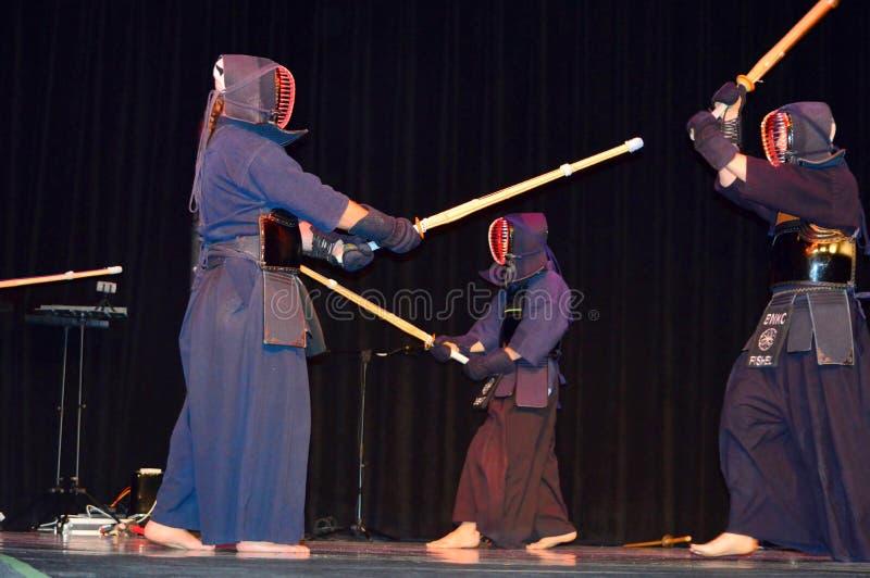Fest culturel de démo d'épées de Kendo Japanese photos stock