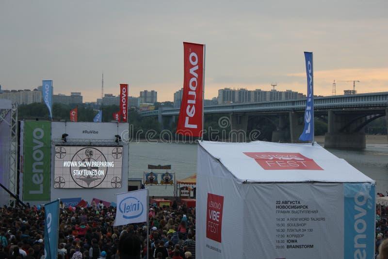 Fest da impressão de Lenovo: Festival extremo dos esportes, da música e das técnicas em Novosibirsk, Rússia fotos de stock