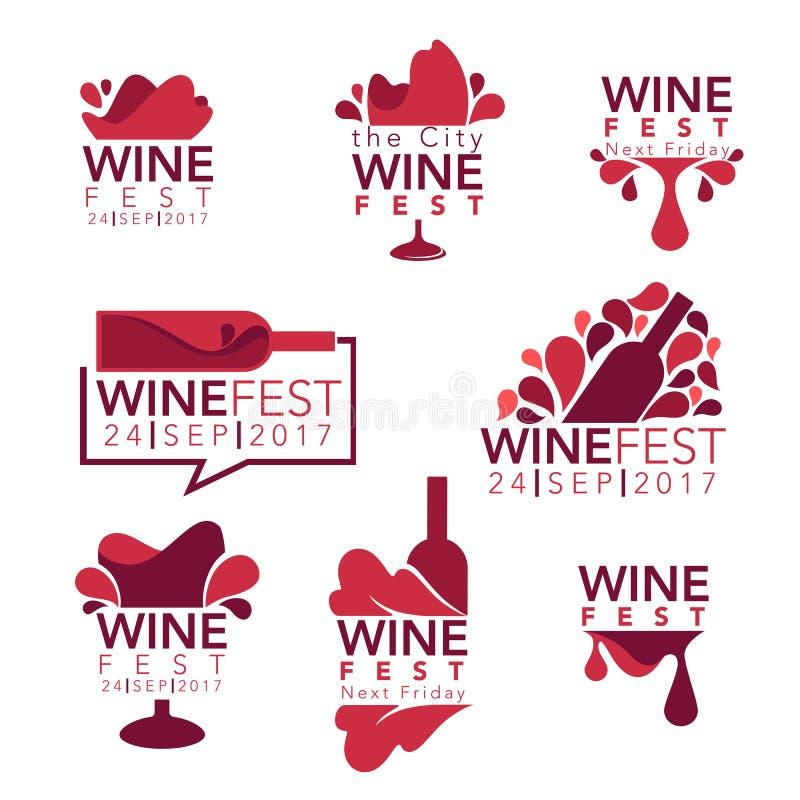 Fest de vin, bouteilles de vin rouge et verres illustration de vecteur