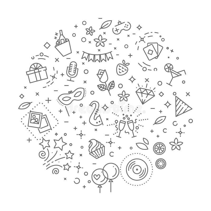 Festa begreppsillustrationen, linjen designvektormall royaltyfri illustrationer