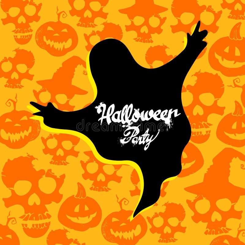 Festa bianca spaventosa dell'illustrazione di Halloween di vettore del fantasma del fumetto di progettazione spettrale di timore illustrazione vettoriale