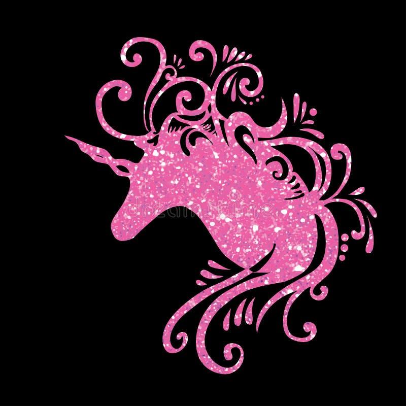 Festa de anos cor-de-rosa 2d do clipart dos unicórnios da fantasia do unicórnio do brilho do unicórnio da silhueta do unicórnio d ilustração do vetor