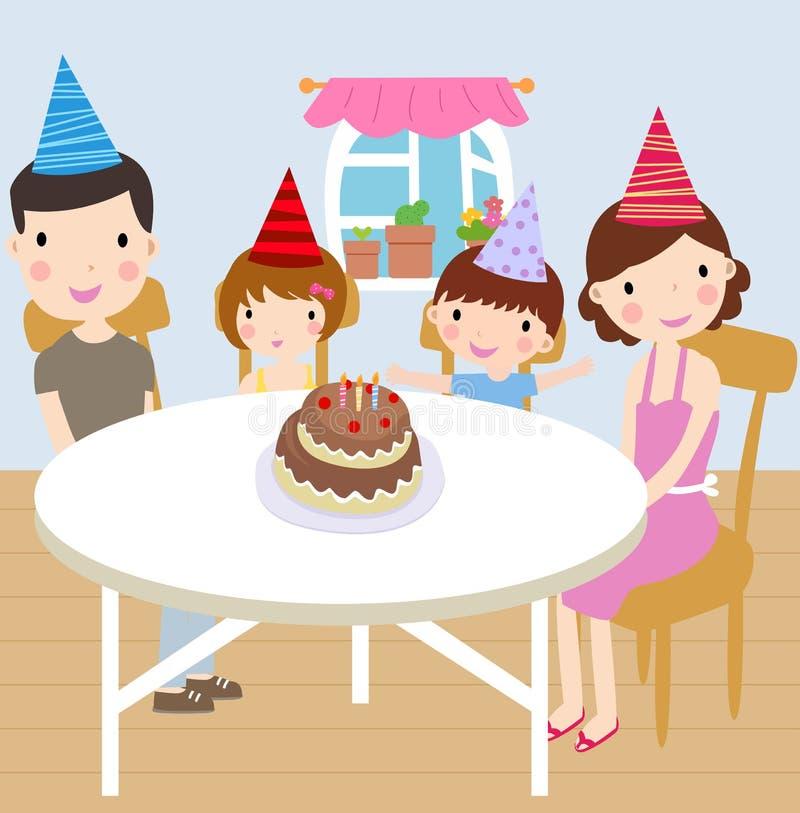 Festa de anos da família ilustração royalty free