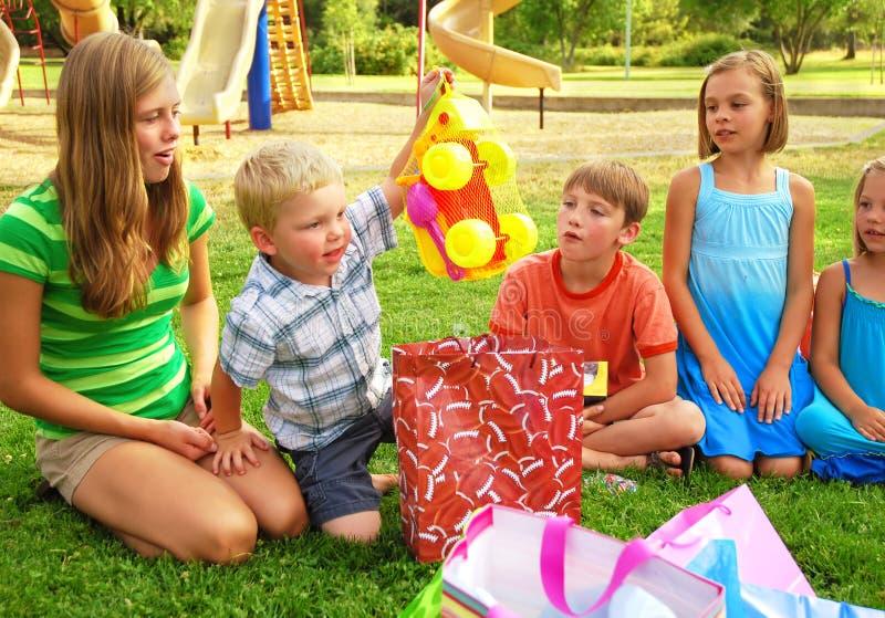 Festa de anos do menino fotografia de stock royalty free