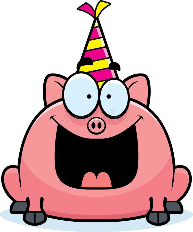 Festa de anos do porco dos desenhos animados ilustração royalty free