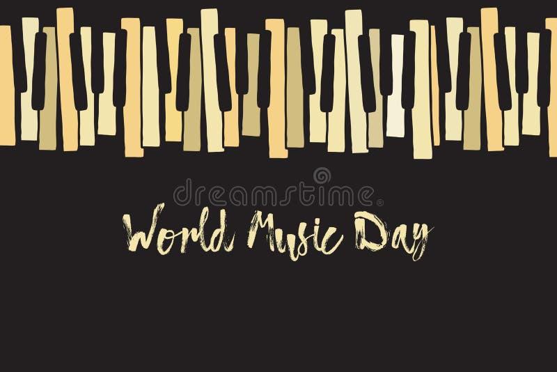 Festa de dia de música mundial feliz Chaotic Pianoforte musical octavernas para piano, desenho Padrão de rabisco vetorial com tra ilustração royalty free