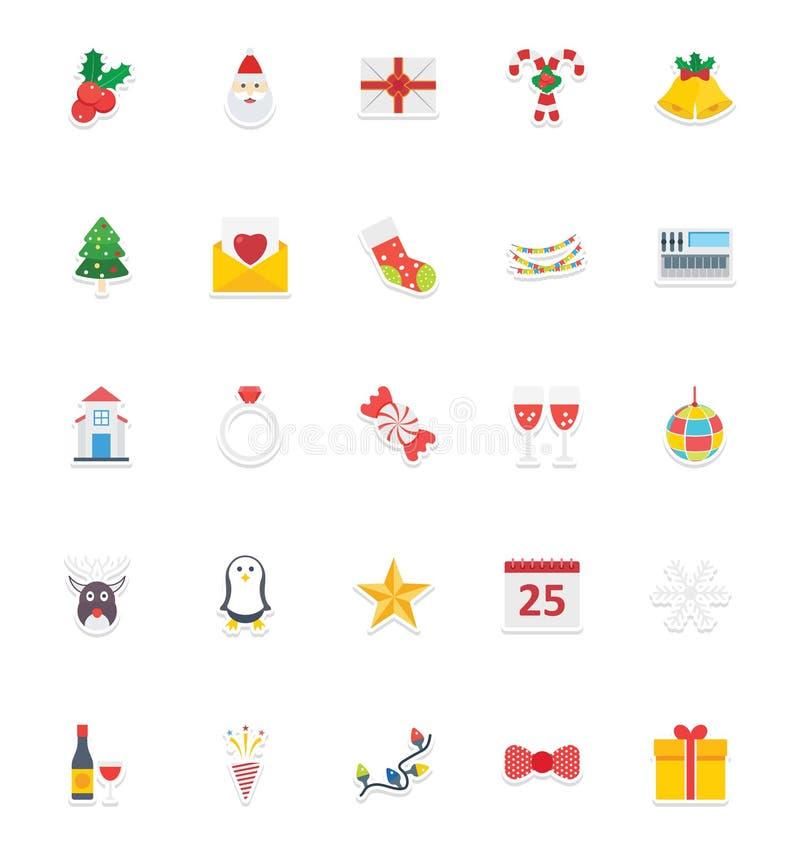 A festa de Natal os ícones do vetor que da cor ajustam aquele pode facilmente ser alterada ou editar a festa de Natal os ícones d ilustração royalty free