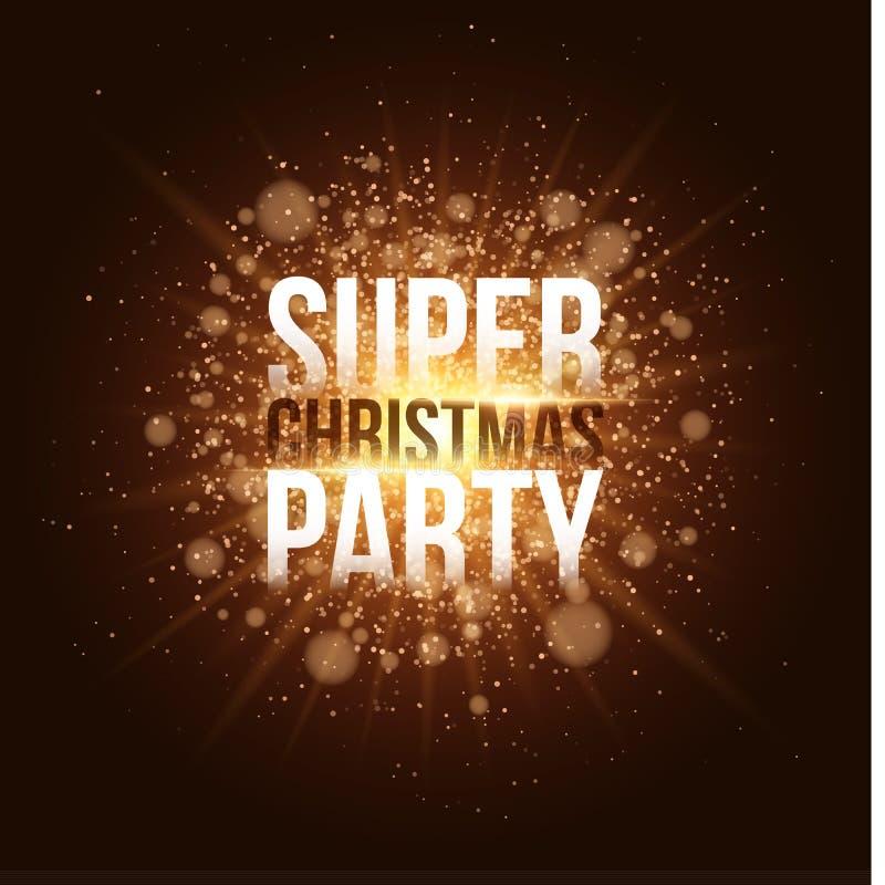 Festa de Natal super Cartão dourado luxuoso do convite Flash dourado brilhante com raios de luz Feliz Natal Folheto festivo ilustração royalty free