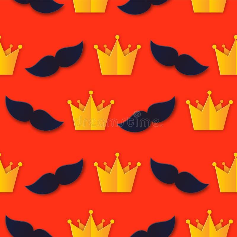 Festa dei padri carini Re di carta senza salamoia Serie d'arte con accessori per uomini: Mustache, stile piatto della Corona Padr illustrazione vettoriale