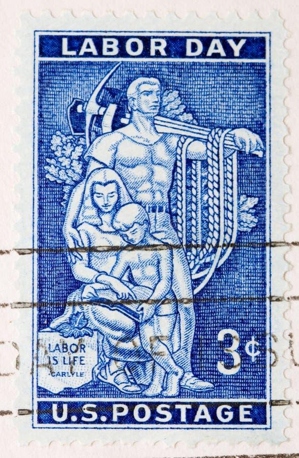 Festa del Lavoro del francobollo degli Stati Uniti dell'annata 1956 fotografie stock