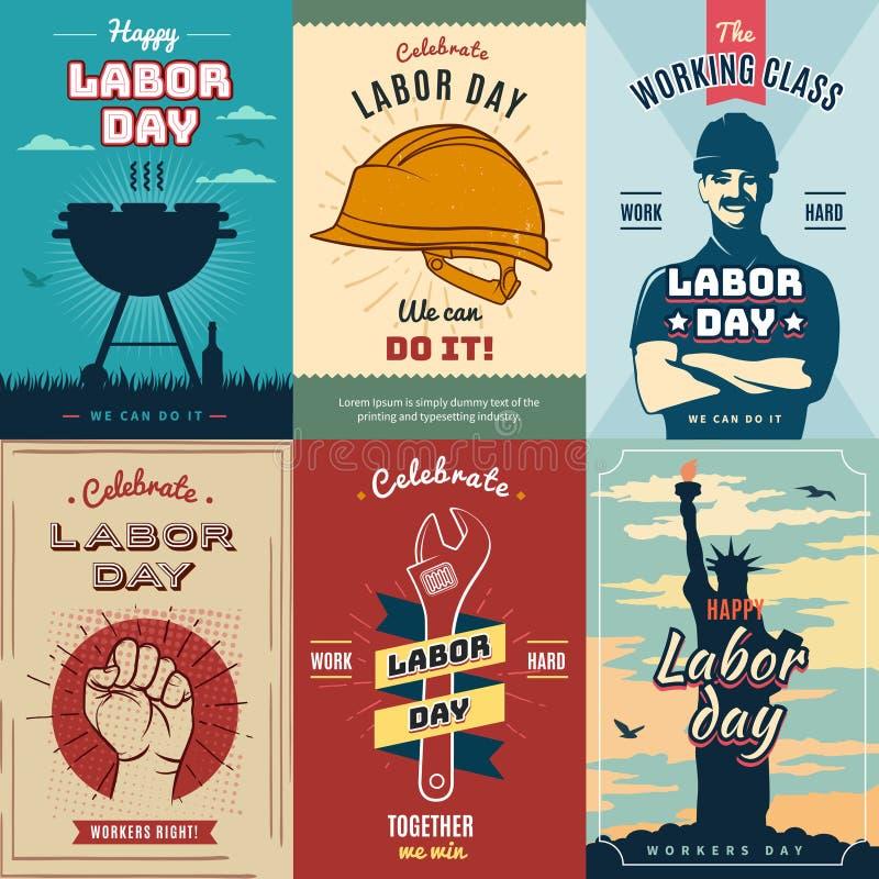 Festa del Lavoro Insieme del manifesto d'annata per la celebrazione, illustrazione di vettore illustrazione di stock