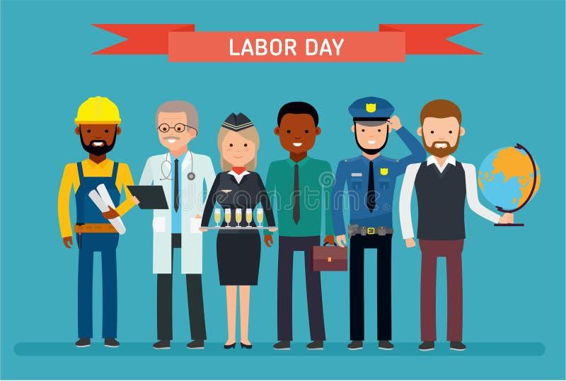 Festa del Lavoro Un gruppo di persone delle professioni differenti su un fondo bianco royalty illustrazione gratis