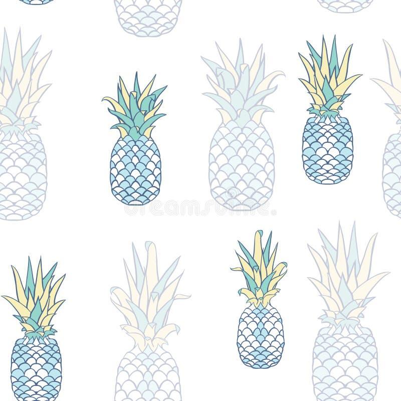 Festa dell'ananas di vettore nella progettazione senza cuciture blu del modello illustrazione di stock