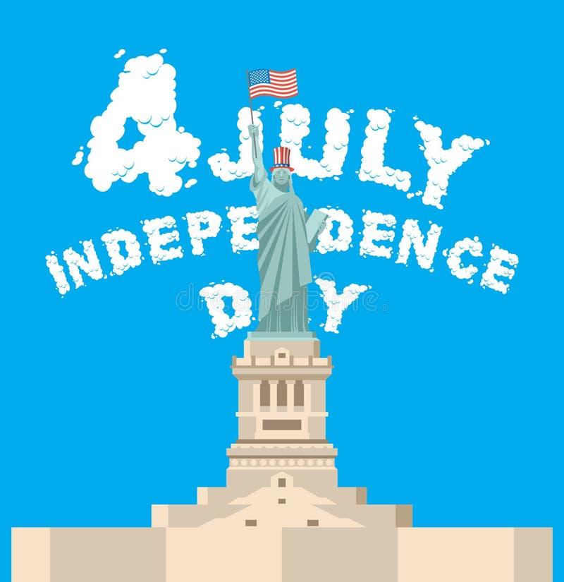 Festa dell'indipendenza dell'america Simbolo della statua della libertà di nuovo Yor illustrazione di stock
