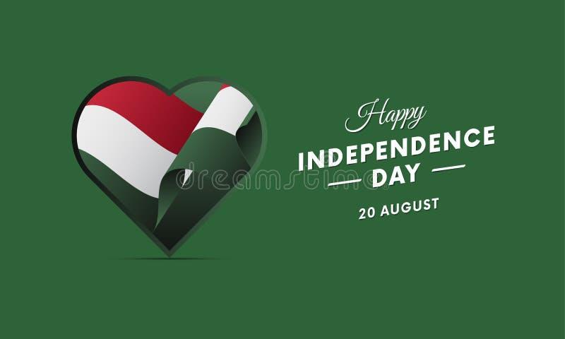Festa dell'indipendenza dell'Ungheria 20 agosto bandiera d'ondeggiamento nel cuore Vettore illustrazione vettoriale