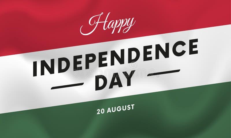 Festa dell'indipendenza dell'Ungheria 20 agosto bandiera d'ondeggiamento Vettore illustrazione di stock