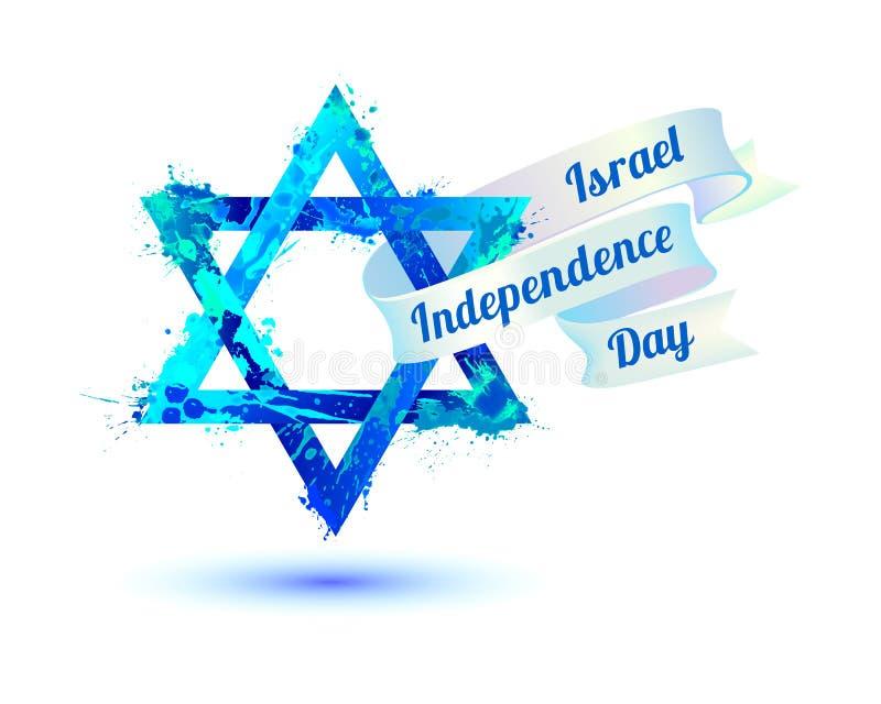 Festa dell'indipendenza di Israele Stella di David della pittura della spruzzata royalty illustrazione gratis