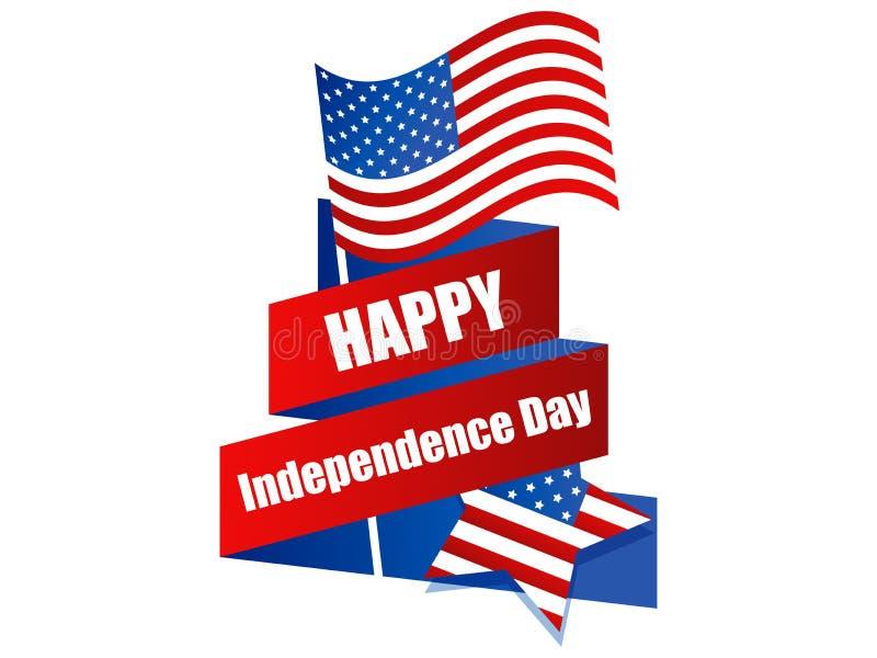 Festa dell'indipendenza felice il quarto luglio Insegna festiva con il nastro e la bandiera degli S.U.A. Vettore royalty illustrazione gratis