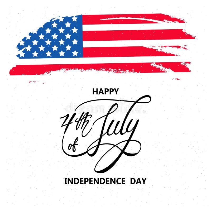 Festa dell'indipendenza felice o quarta del fondo di vettore di luglio o del grafico dell'insegna illustrazione di stock