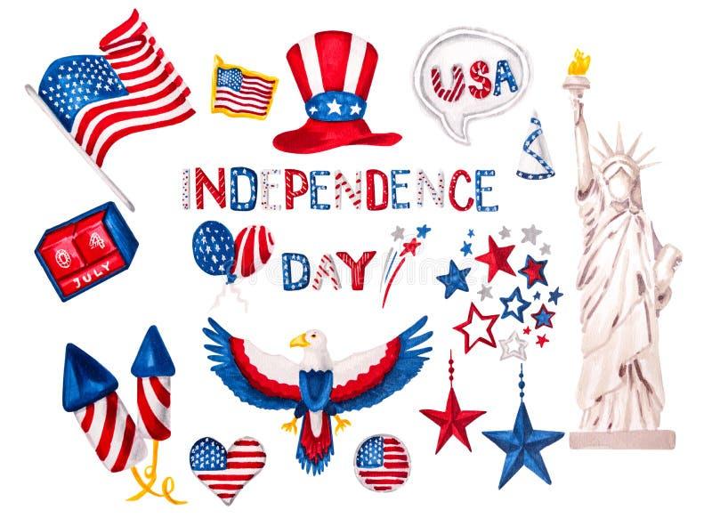 Festa dell'indipendenza dell'insieme degli S.U.A. dell'illustrazione disegnata a mano degli autoadesivi di simbolo con il percors fotografie stock libere da diritti