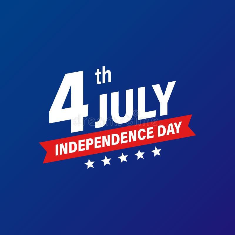 Festa dell'indipendenza quarta di U.S.A. della festa di luglio Bandierina degli Stati Uniti d'America Insegna felice di festa del illustrazione vettoriale