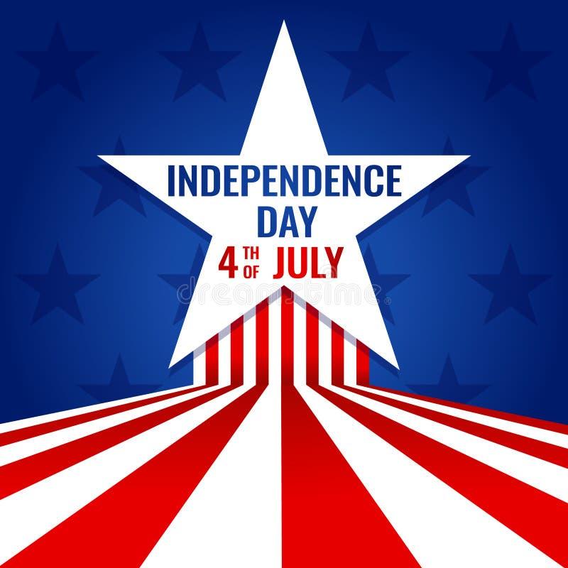 Festa dell'indipendenza quarta di U.S.A. di progettazione americana dell'insegna di luglio per l'illustrazione di vettore con le  illustrazione di stock