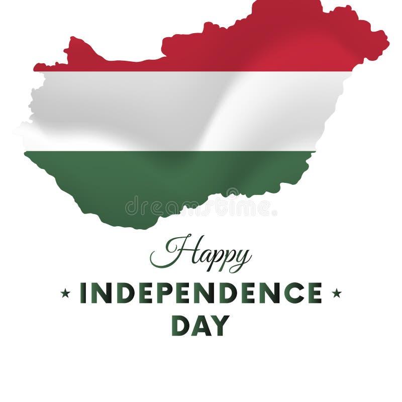 Festa dell'indipendenza dell'Ungheria Mappa dell'Ungheria Illustrazione di vettore illustrazione vettoriale