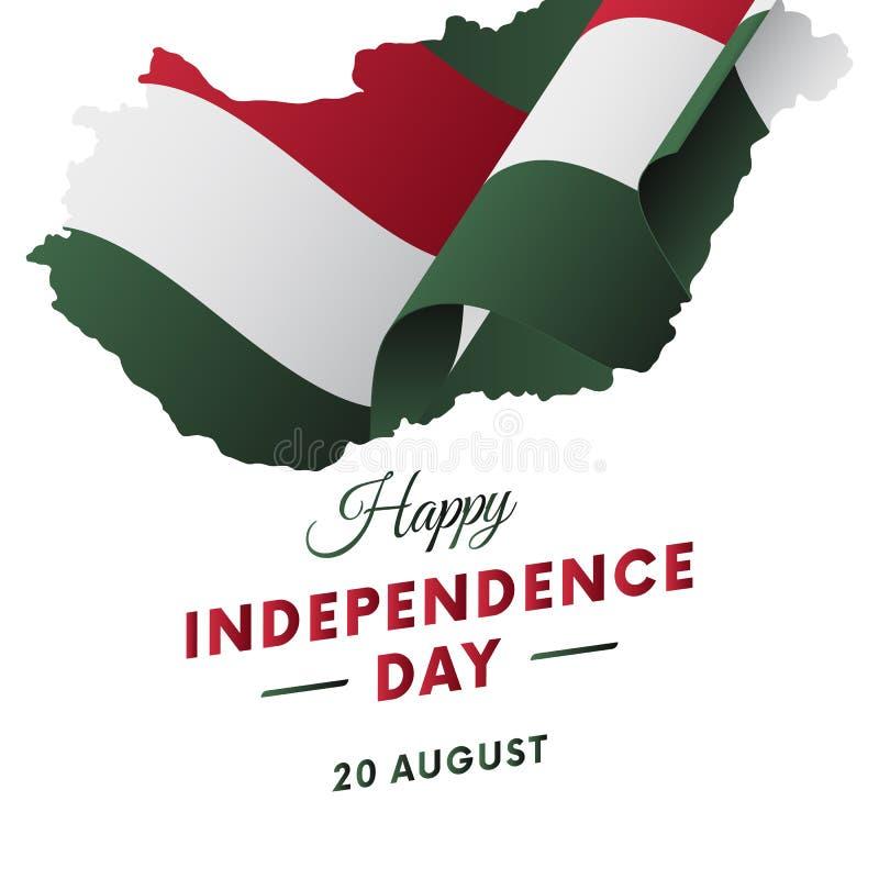 Festa dell'indipendenza dell'Ungheria Mappa dell'Ungheria Illustrazione di vettore royalty illustrazione gratis