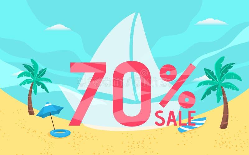 Festa dell'insegna di vendita di estate con la scena della spiaggia royalty illustrazione gratis